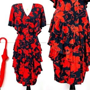 Vintage Red Floral Dress 80s in 50s Style